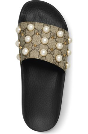 Gucci Pursuit Imitation Pearl Embellished Slide Sandal (Women) | Nordstrom