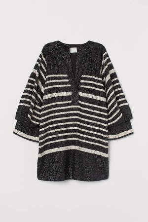 Short Sequined Dress - Black