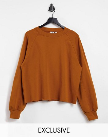 COLLUSION oversized sweatshirt in toffee   ASOS