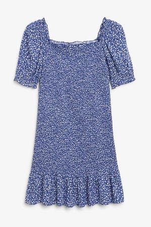 Shirred mini dress - Blue floral print - Mini dresses - Monki WW