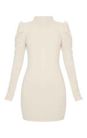 Stone High Neck Puff Shoulder Bodycon Dress | PrettyLittleThing USA