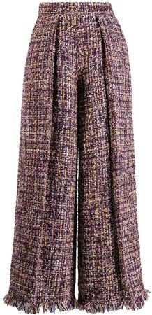 iridescent tweed palazzo pants