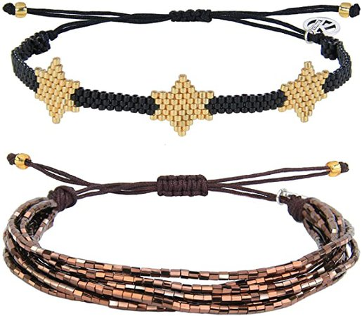 KELITCH Colorful Tassel Miyuki Hand Bracelets Handmade Rope Wrap Bracelets Fashion Women Bracelets Adjustable Style (Coffee Star): Jewelry