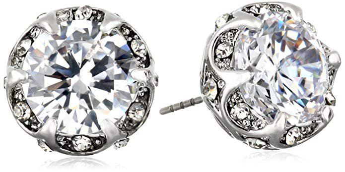 "Betsey Johnson ""Cz Ears"" Crystal Ruffled Halo Stud Earrings Crystal/Silver Stud Earrings: Jewelry"