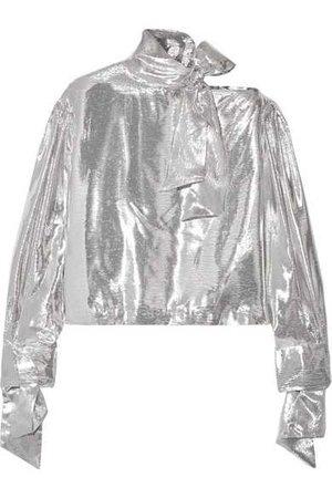 IRO | Harjava cold-shoulder lamé blouse | NET-A-PORTER.COM