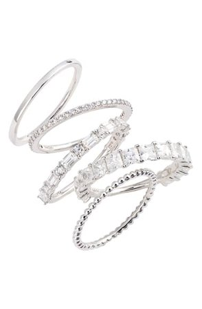 Nadri Set of 5 Stacking Rings | Nordstrom
