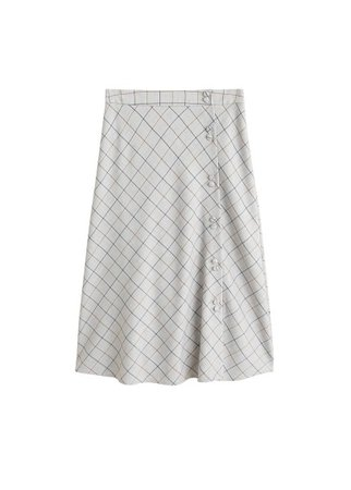 MANGO Buttoned checked skirt