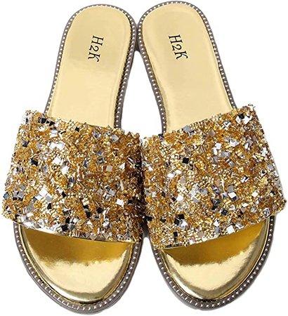 Amazon.com | H2K Womens Glitter Bling Jewel Stone Fancy Slide Flat Low Wedge Sandals Shoes Dream (7 B(M) US, Rose Gold) | Slides