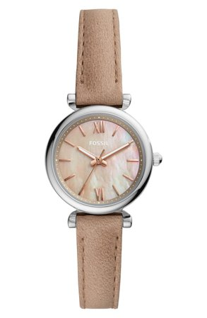 Fossil Mini Carlie Star Leather Strap Watch, 28mm | Nordstrom