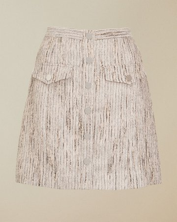 Metallic stripe mini skirt - Silver | Skirts | Ted Baker UK