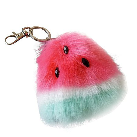 SUPPION Watermelon Rabbit Fur Ball Keychain Bag Plush Car Key Ring Car Key Pendant