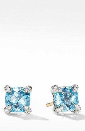 Chatelaine(R) Stud Earrings with Blue Topaz & Diamonds