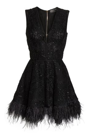 BRONX AND BANCO Bambi Feather Hem Party Dress | Nordstrom