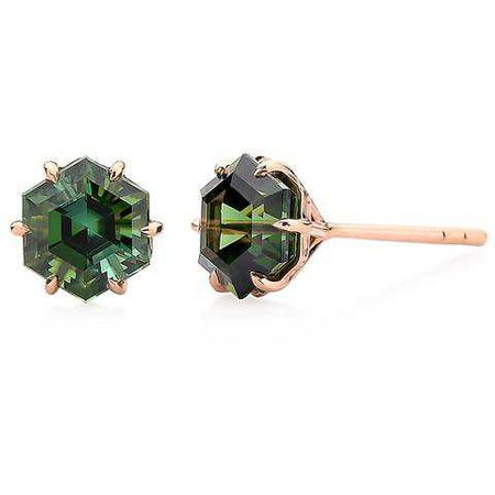 18kt Rose Gold Green Tourmaline Studs, petite – Paolo Costagli