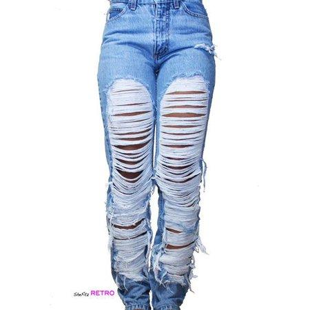 ALL SIZES- Vintage Fully Shredded Grunge Jeans