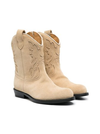 Shop Gallucci Kids leather cowboy boots with Express Delivery - Farfetch