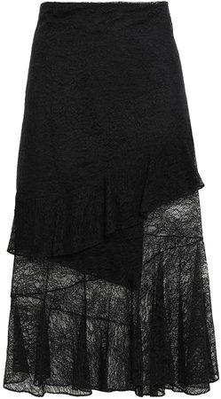 Asymmetric Layered Lace Midi Skirt