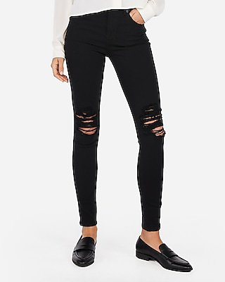 High Waisted Black Ripped Jean Leggings