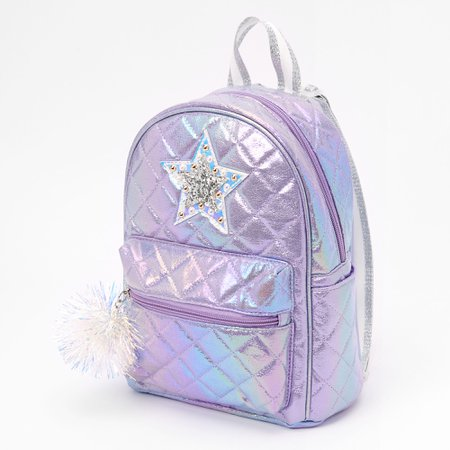 Quilted Star Small Backpack - Purple | Claire's US