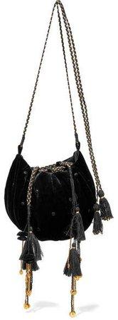 Fleur Embellished Embroidered Velvet Shoulder Bag - Black