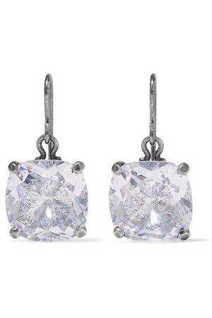 Bottega Veneta   Oxidized silver cubic zirconia earrings   NET-A-PORTER.COM