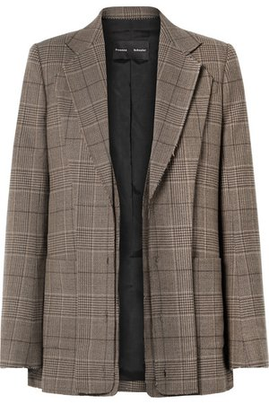 Proenza Schouler | Oversized layered checked wool-blend blazer | NET-A-PORTER.COM