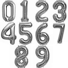 silver metallic balloons 1 number - Google Search