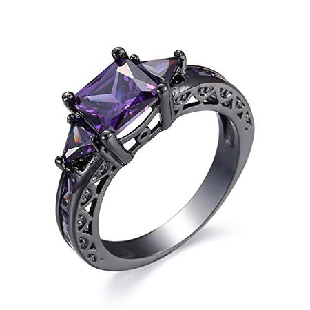 Amazon.com: Czjewelry Women Black Gold Plated Rings Square Cut Purple Amethyst Cubic Zirconia Bridal Engagement Wedding Band Size 5-10 (Purple, 9): Jewelry