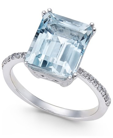 EFFY Aquarius Aquamarine and Diamond 14k White Gold Ring