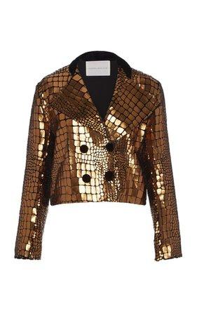 Serpent Pleather Velvet Cropped Jacket by SANDRA MANSOUR for Preorder on Moda Operandi
