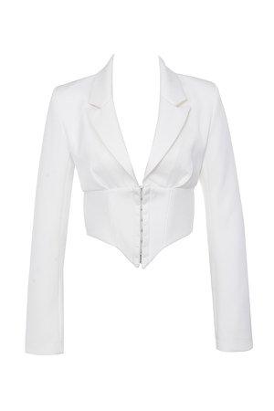 Clothing : Jackets : 'Isobel' White Waist Cinching Corset Jacket