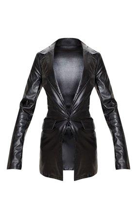 Black Pu Fitted Blazer | Coats & Jackets | PrettyLittleThing USA
