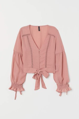 V-neck Blouse with Buttons - Pink