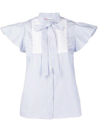 Blue Redvalentino Striped Cap Sleeves Blouse For Women | Farfetch.com