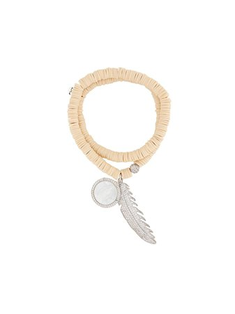Lord And Lord Designs Crystal-Embellished Feather Bead Bracelet LLBRACELET110 Neutral | Farfetch