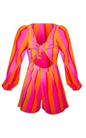 Orange Stripe Tie Front Playsuit | PrettyLittleThing USA