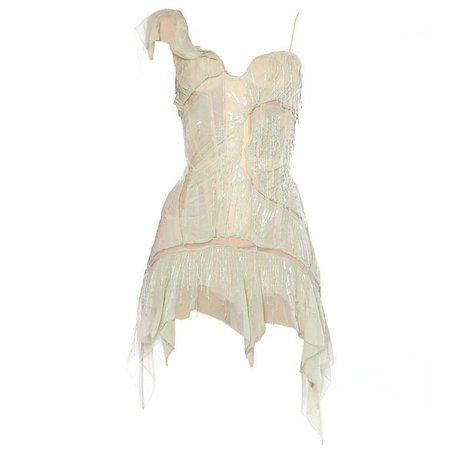 Roberto Cavalli Corset Dress Draped in Chiffon and Bead Fringe 2003 For Sale at 1stdibs