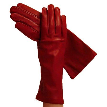 Garnet Red 4-Inch Women's Italian Leather Gloves, Silk-lined   Solo Classe
