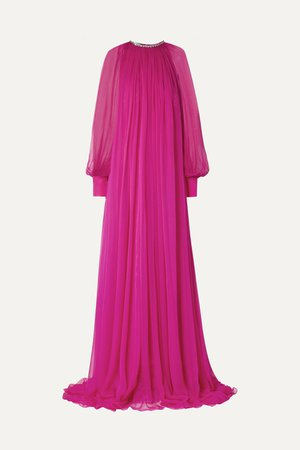 Magenta Gathered crystal-embellished silk-chiffon gown | Gucci | NET-A-PORTER