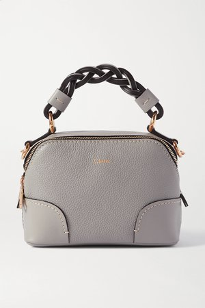 Gray Daria mini textured and smooth leather tote | Chloé | NET-A-PORTER