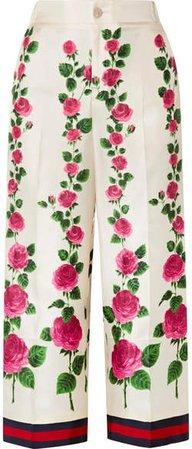 Cropped Grosgrain-trimmed Floral-print Silk-twill Wide-leg Pants - Ecru