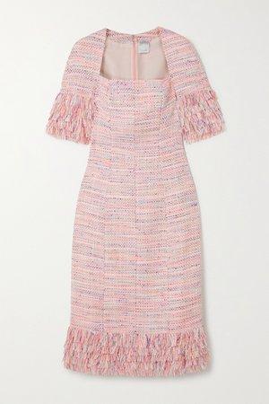 Pink Iris fringed tweed midi dress   Huishan Zhang   NET-A-PORTER