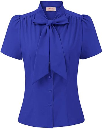 Belle Poque Summer Short Sleeve Office Button Down Blouse Stripe Shirt Tops with Bow Tie BP573 at Amazon Women's Clothing store