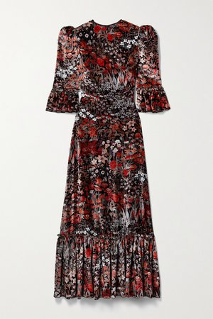 Black The Festival ruffled floral-print velvet midi dress | The Vampire's Wife | NET-A-PORTER