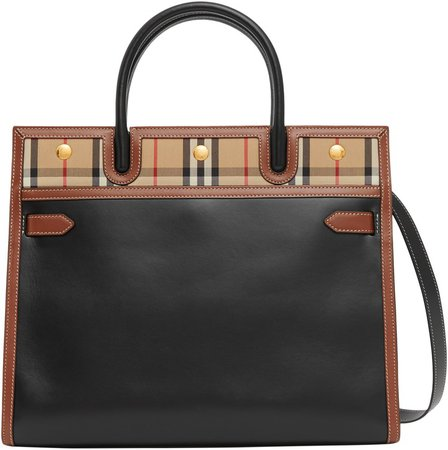 Medium Title Leather & Vintage Check Two-Handle Bag