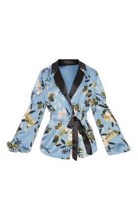 Blue Satin Floral Gathered Waist Shirt   Tops   PrettyLittleThing