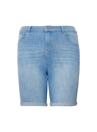**DP Curve Blue Light-Wash Denim Shorts | Dorothy Perkins
