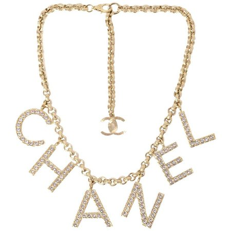 Chanel 2019 Sold Out By The Sea Collection Crystal Name Necklace For Sale at 1stdibs