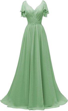 Yexinbridal Ruffle Sleeves V-Neck Chiffon Bridesmaid Dress Long Fomal Evening Gowns Black 2 at Amazon Women's Clothing store