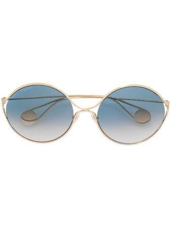 Gucci Eyewear Icy Blue Oversized Round Sunglasses Ss19   Farfetch.com